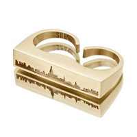 New York City SKYLINE OUTLINE Ring - Yellow Brass NYC Unisex Double Finger Duster Knuckles