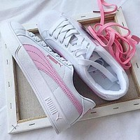 PUMA Women Men Casual Running Sport Shoes Sneakers White/Pink