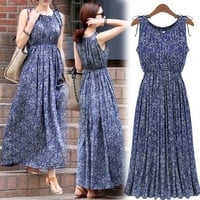 New Women Fashion Sleeveless Long Dress Summer Maxi Print Evening Party Casual Maxi Skirt SMLXL-XXL = 1827694020