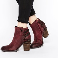 Steve Madden Raglyn Wine Leather Lace Back Heeled Ankle Boots at asos.com