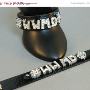 SALE 20% Off Bracelet Rhinestone Hash Tag WWMD Fleur de Lis What Would Mary Do Wristband Black Faux Leather Adjustable Snap Religious Cathol