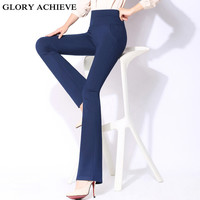 Autumn Plus Size 4XL High Waist Pants Women New Fashion Spring OL Casual Flare Pant Trousers Work Pants Long Trousers Female