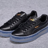 fenty rihanna puma creepers mens womens leather shoes black blue  number 1