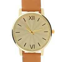 ASOS Tan Leather Strap Watch with Webbed Detail Gold Dial at asos.com
