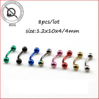 BOG-Lot 8 Pieces Titanium Anodized Black Gold Blue 316L Steel Curved Barbell with Balls Eyebrow Ear  Body Piercing Ring 16g