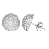 Sterling Silver Rhodium Finish 12mm Mesh Style Semi-Round Button Stud Earring