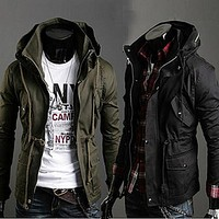 men jacket New Men Autumn Winter British Style Warm Double Collar Cotton Jacket Coat Outerwear