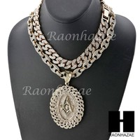 "Iced Out Freemason Oval Pendant 16"" Iced Out Choker 18"" Puffed Gucci Chain Set 8"