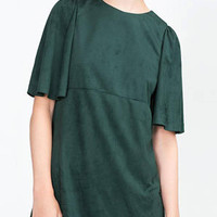 Green Suedette Dress with Cap Sleeve
