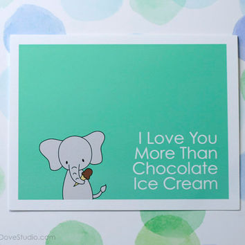 Cute Elephant I Love You Card Cute Love Card Romantic Card Anniversary Card Handmade Greeting Card Cute Card Boyfriend Girlfriend Fun Card