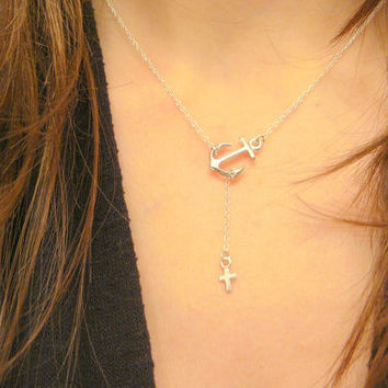 Sterling Silver Simple Sideways Cross and Anchor Necklace, Bridesmaids Gift, Celebrity Inspired Jewelry, Cross Lariat Necklace