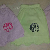 Monogrammed Pajama Shorts. Great for bridal parties, sororities or gifts