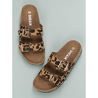 Twin Buckles Cork Footbed Leopard Slides