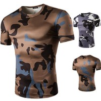 Print Short Sleeve T-shirts Camouflage Permeable Bottoming Shirt [10352117123]