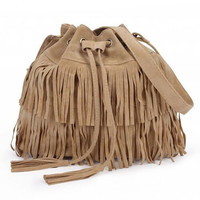 Apricot Retro Drawstring Tassel Bucket Bag