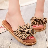 FENDI Autumn Fashion Women Cute Bowknot Wool Flat Sandals Slippers Shoes Khaki