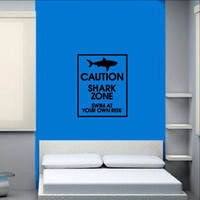 Shark Zone Vinyl Wall Decal - Swim at Your Own Risk Sign 22324