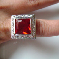 HUGE Bling Fancy Cocktail Dinner Ring Silver Tone&Princess Cut Red Colored Stone Faux Ruby Accented With Sparkling CZ Cubic Zirconia Accents