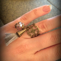 Tassel ring-Bohemian jewelry-Antique bronze Filigree ring-Double Ring-Knuckle Ring-Adjustable Ring-Armor ring-hippie ring-one size-set of 2