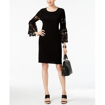 ALFANI NEW Women's Black Solid Lace Bell Sleeve A-line Sheath Dress, Size 6