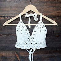 Final Sale - Bohemian Crochet Crop Top in White