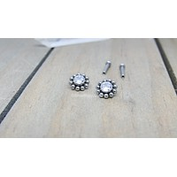 Titanium beaded cluster earrings 18g-14g flat back earrings internally threaded labret