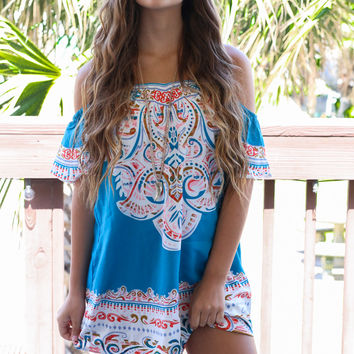 Paint The Sky Turquoise Off Shoulder Mini