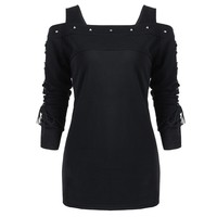 LANGSTAR Rivet Cold Shoulder Lace-Up Long Sleeve T-Shirt Top Women Autumn Black T-Shirts Gothic Punk Pullover Womens Top Tee