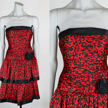 Vintage 80s Dress / 1980s Red Leopard Print Silk Strapless Party Dress XS