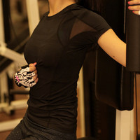 Women Sexy Short Sleeve Sport Suit Fitness Professional Sportswear Stretch Exercise Yoga Quick Dry Top T-Shirt _ 6801