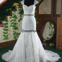 Long Mermaid Lace Wedding Dress - Cheap lace Wedding Gowns / Mermaid Lace Bridal Gown /