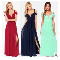 Strap Sweetheart Bust A-Line Chiffon Maxi Dress With Slit