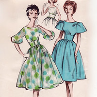 Vintage 1950s Sewing Pattern - Party / Cocktail Dress with Full Skirt, Wide Midriff & 3 Sleeve Options - Butterick 8997, Bust 38, Uncut