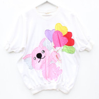 80s NOVELTY AUSTRALIANA Koala + Balloon Jenny Kee Style Bubble Tee T Shirt Sleeve Crop Top
