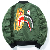 Bape Tide brand autumn and winter shark embroidery pilot jacket jacket baseball uniform green