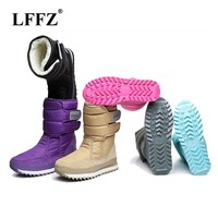 LFFZ 2018 NEW Warm Solid Anti-Slip Snow Boots Women Waterproof Female Winter Boots Thermal Shoes Botas Mujer Plataforma ZLL18