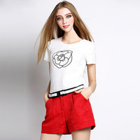 Flower Print Short Sleeve Embroidered Top with Belted Shorts Set