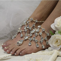 CRYSTAL DREAMS barefoot sandals - silver
