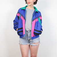 Vintage 1980s Windbreaker Jacket Pink Purple Black Teal Green Sporty Girl Mod Color Block Bomber Jacket 80s Track Warm Up Jacket M Medium L