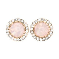 Rhinestone-Trimmed Gem Earrings by Charlotte Russe - Lt Pink