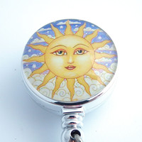 Magnetic Retractable ID Badge Sun Face on Chrome Badge Reel