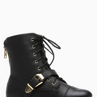 Black Faux Leather Meadow Ankle Boot