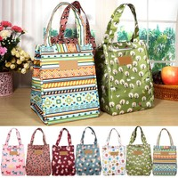 Durable Lunch Bag Canvas Material Thermal Insulation Lovely Storage Container