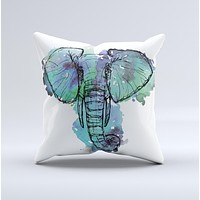 The African Sketch Elephant ink-Fuzed Decorative Throw Pillow