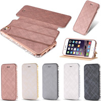 6s Deluxe Noble Metal Plating Hybrid Leather Case For Apple iPhone 6 6S Ultra Shiny Rhinestone Full Protective Hard Cover Sleeve