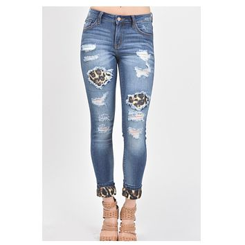 Mid Rise Destroyed Leopard Patch Denim KANCAN Jeans