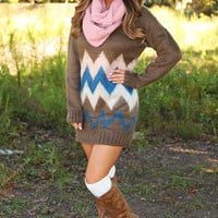 Find Me By The Campfire Sweater Dress: Multi