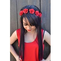 Radiant Red Rose Headband #C1017
