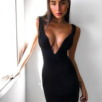 Tikierra Sexy V Neck Midi Dress
