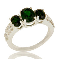 925 Sterling Silver Genuine Chrome Diopside with White Topaz Accent Ring